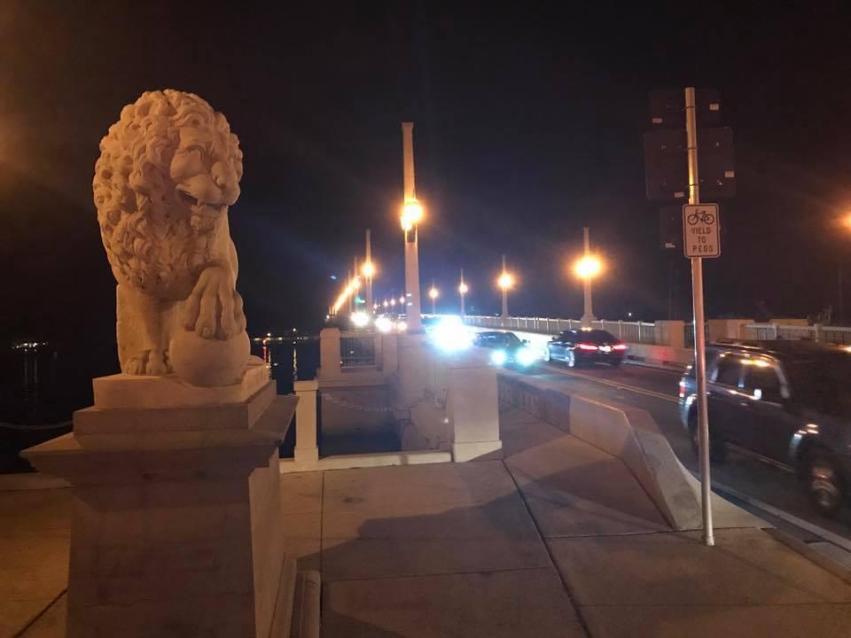 St Augustine - Bridge of Lions at night