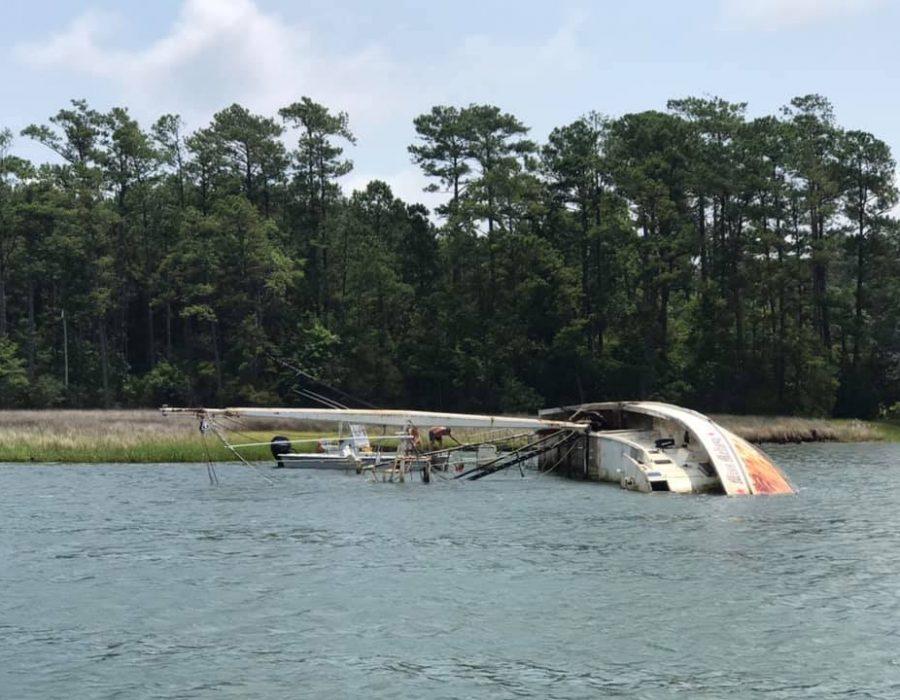 Boat wreck on Adams Creek