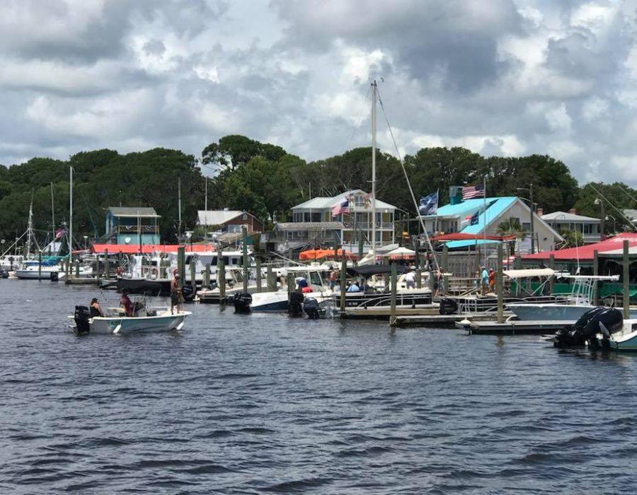 Cruising past the waterfront restaurants