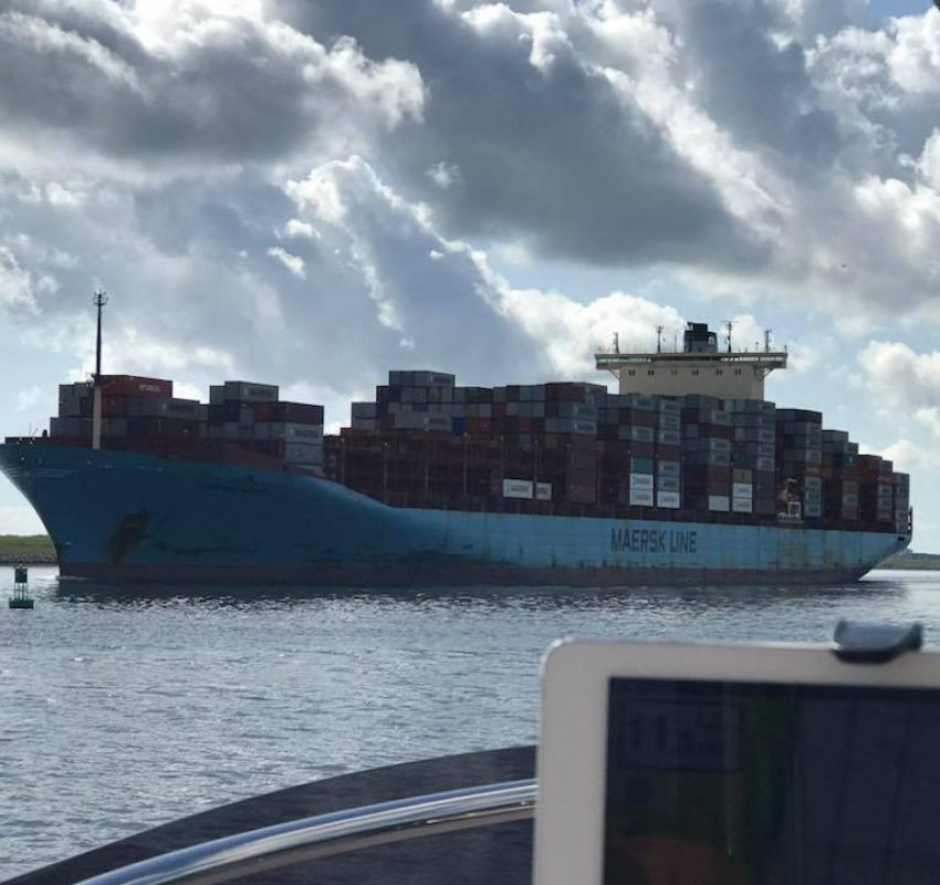 Passing large cargo ship on the Savannah River